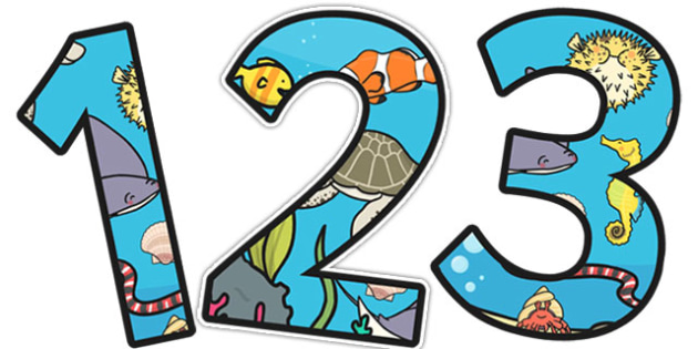 Under the Sea Themed Display Numbers 2 Per A4 - display, numbers