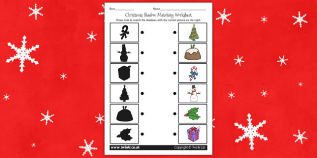 Christmas Themed Shadow Matching Worksheet - worksheets, match