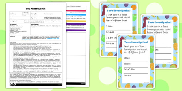 Taste Investigation (My Senses) Adult Input Plan and Resource Pack