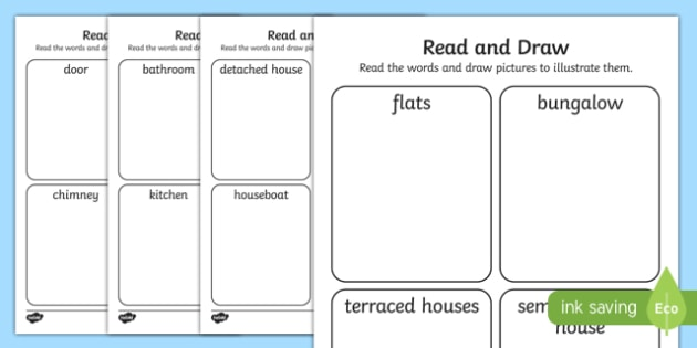 Houses and Homes Read and Draw Activity Sheet, worksheet