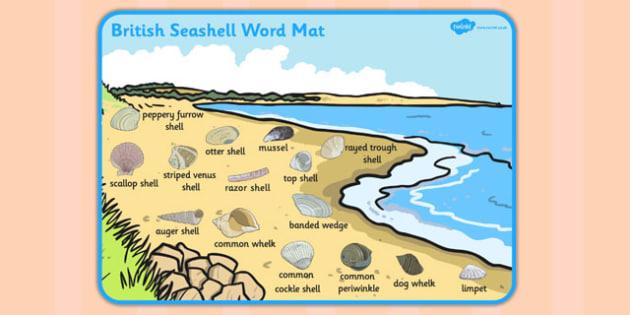British Seashell Scene Word Mat - british, seashell, word mat