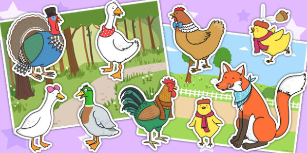 Chicken Licken Story Cut Outs - stories, story display, cutouts