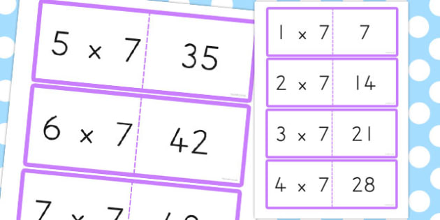7 Times Table Cards - australia, times table, times tables, cards, 7, times