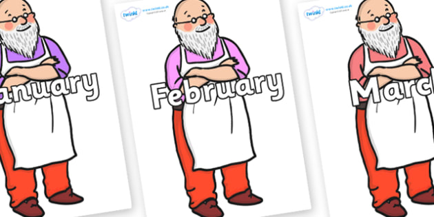 Months of the Year on Mr Clause to Support Teaching on The Jolly Christmas Postman - Months of the Year, Months poster, Months display, display, poster, frieze, Months, month, January, February, March, April, May, June, July, August, September