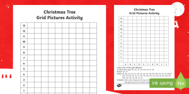 Christmas Tree Grid Picture Activity Sheet-Scottish