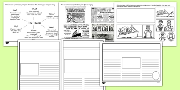 The Titanic Newspaper Writing Frames - the titanic newspaper writing frames, titanic, newspaper, writing frames, the titanic, ship, writing template, writing frames, word cards, flashcards, template