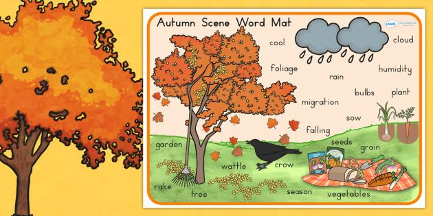 Autumn Scene Word Mat - seasons, weather, keywords, visual aid