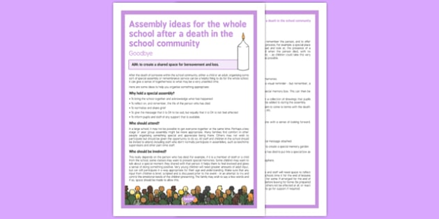 Assembly Ideas for Whole School After a Death in the School Community - assembly, ideas, whole school, death