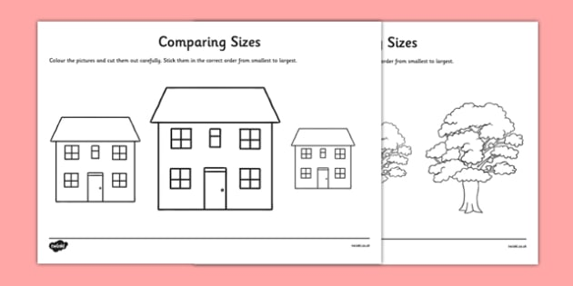 Comparing Sizes Activity Sheet Pack - CfE, numeracy, comparing sizes, worksheet