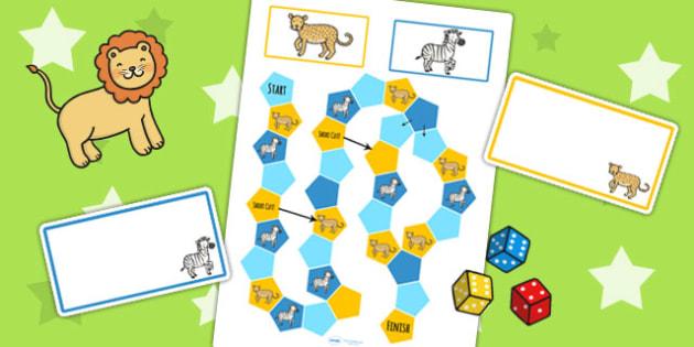 Safari Themed Editable Board Game - jungle, games, classroom game