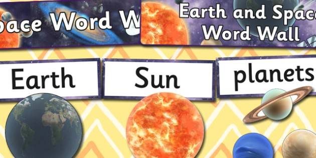 Earth and Space Word Wall Pack - planets, display, displays