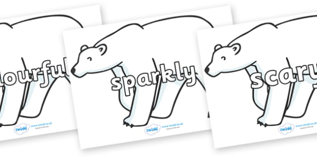 Wow Words on Polar Bears - Wow words, adjectives, VCOP, describing, Wow, display, poster, wow display, tasty, scary, ugly, beautiful, colourful sharp, bouncy