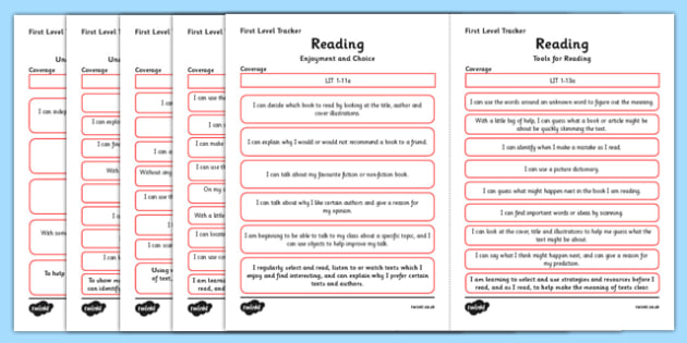 CfE Child Friendly Tracking First Level Reading - Literacy, Language, English, I Can, Tracking, Visual Pathway