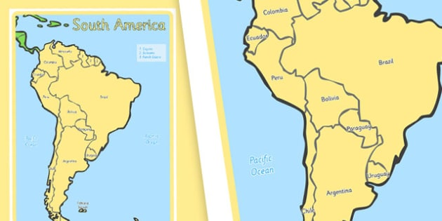 KS1 Geography Continents of the World Posters South America 4xA4 - ks1, geography, continents of the world, posters, display, south america