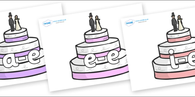 Modifying E Letters on Wedding Cakes - Modifying E, letters, modify, Phase 5, Phase five, alternative spellings for phonemes, DfES letters and Sounds