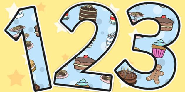 Cake Themed A4 Display Numbers - cake, display, display numbers