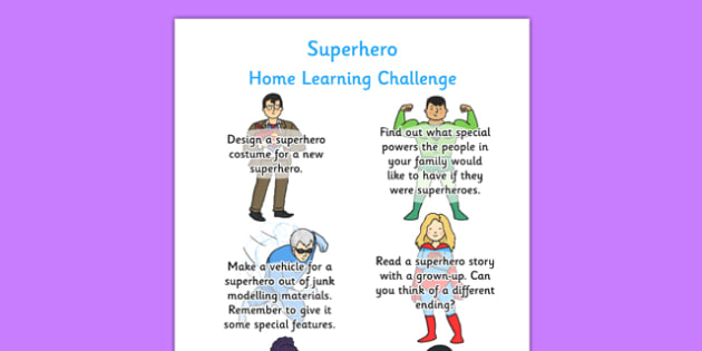 EYFS Superheroes Themed Home Learning Challenge Sheet Reception FS2