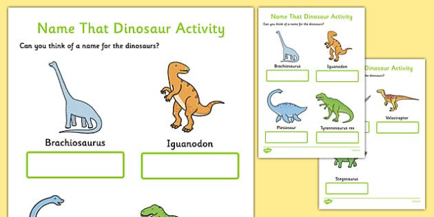 Name That Dinosaur Writing Activity Sheet, worksheet