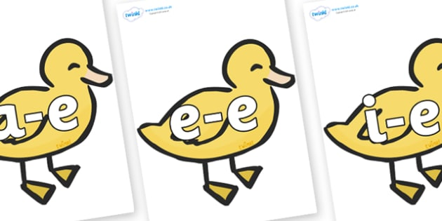 Modifying E Letters on Ducklings - Modifying E, letters, modify, Phase 5, Phase five, alternative spellings for phonemes, DfES letters and Sounds
