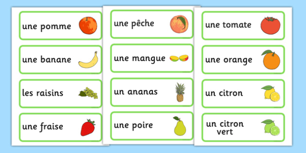 Fruit Word Cards French - french, fruit, word cards, flash cards, cards, francais, apple, banana, France