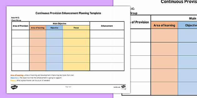 Editable Continuous Provision Enhancement Planning Template