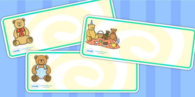 Teddy Bears Picnic Name Labels - teddy bears picnic, label, signs