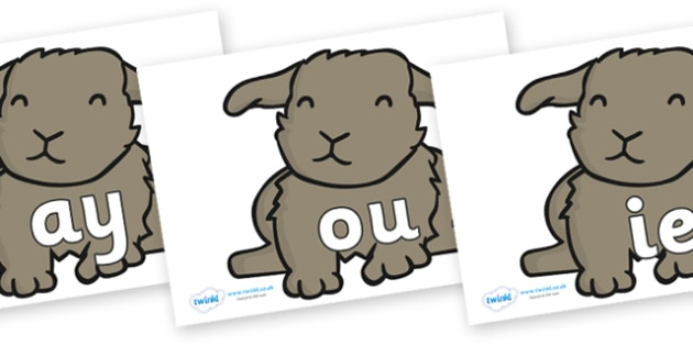 Phase 5 Phonemes on Rabbits - Phonemes, phoneme, Phase 5, Phase five, Foundation, Literacy, Letters and Sounds, DfES, display