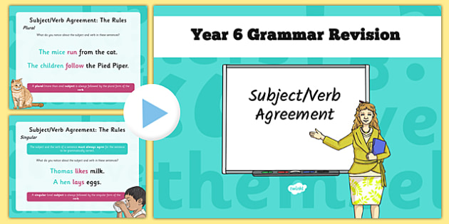Year 6 Grammar Revision Guide and Quick Quiz Subject Verb Agreement - Y6, year 6, KS2, subject verb agreement, was, were, is, am, are, sat tests, SPaG, revision, booster, quiz