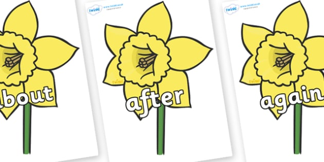 KS1 Keywords on Daffodils - KS1, CLL, Communication language and literacy, Display, Key words, high frequency words, foundation stage literacy, DfES Letters and Sounds, Letters and Sounds, spelling