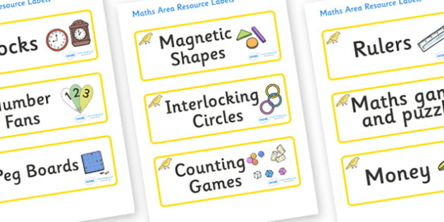 Canary Themed Editable Maths Area Resource Labels - Themed maths resource labels, maths area resources, Label template, Resource Label, Name Labels, Editable Labels, Drawer Labels, KS1 Labels, Foundation Labels, Foundation Stage Labels, Teaching Labe