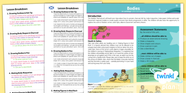PlanIt - Art LKS2 - Bodies Planning Overview CfE - Art, art and design, body, human, KS2, year 3, year 4