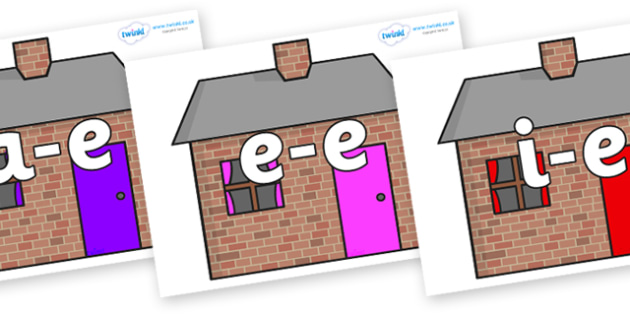 Modifying E Letters on Brick houses - Modifying E, letters, modify, Phase 5, Phase five, alternative spellings for phonemes, DfES letters and Sounds