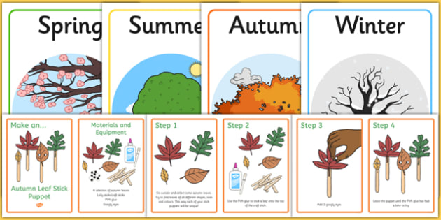 Autumn Leaf Stick Puppets Resource Pack - change, display, play, drama, acting, retell, falling, early years, role play, ks1, key stage 1