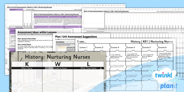 PlanIt History KS1 Nuturing Nurses Unit Assessment Pack - recording, measuring, progress, learning, marking, mark, data, objectives, key stage 1, humanities, topic