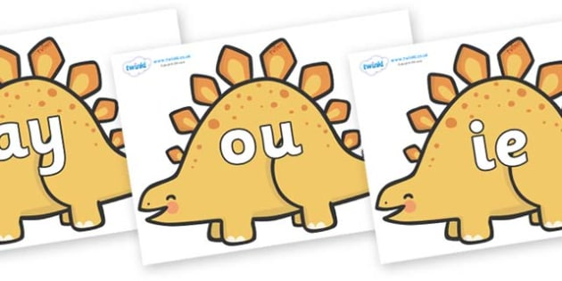Phase 5 Phonemes on Stegosaurus Dinosaurs - Phonemes, phoneme, Phase 5, Phase five, Foundation, Literacy, Letters and Sounds, DfES, display