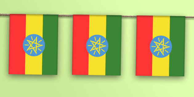 Ethiopia Flag Bunting - flag, world, country, countries, Africa, display, Olympics, Rio, 2016, celebrate, event