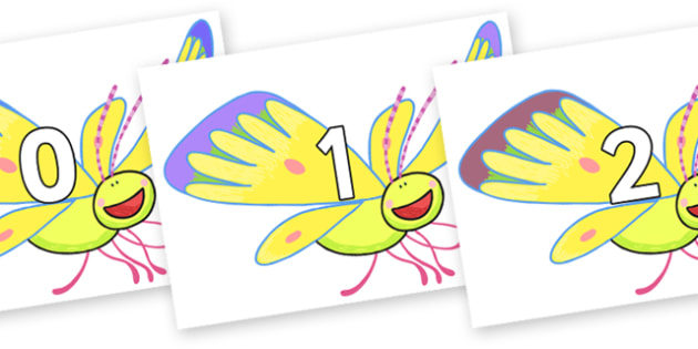 Numbers 0-50 on Yellow Butterfly to Support Teaching on The Crunching Munching Caterpillar - 0-50, foundation stage numeracy, Number recognition, Number flashcards, counting, number frieze, Display numbers, number posters
