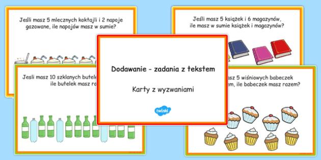 Karty z wyzwaniami Dodawanie po polsku - matematyka