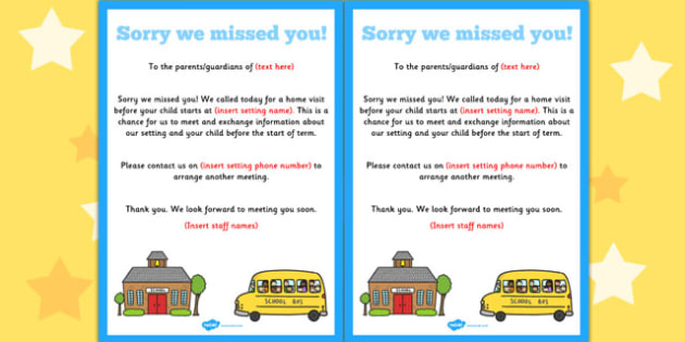 Home Visit Sorry We Missed You Editable Notes - editable notes