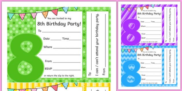 8th Birthday Party Invitations - 8th birthday party, 8th birthday, birthday party, invitations