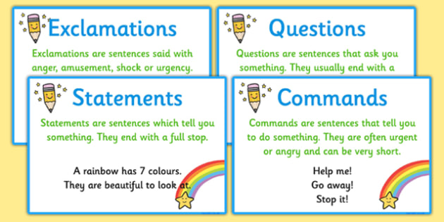 Types Of Sentence Prompt Cards Types Of Sentence Prompt