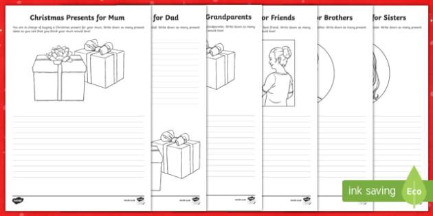 Christmas Present List Activity Sheet-Australia