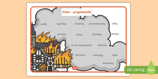 Plansza Przymiotniki opisujące ogień i pożar