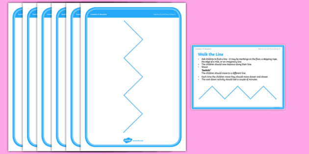 Foundation PE (Reception) Walk the Line Cool Down Activity Card - physical activity, foundation stage, physical development, games, dance, gymnastics