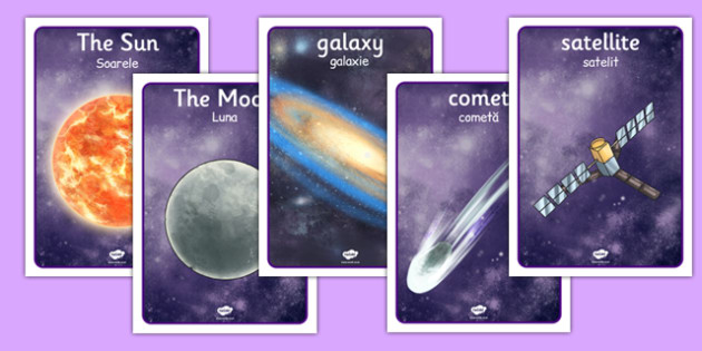 Space Display Posters Detailed Images Romanian Translation - romanian, planets, space display