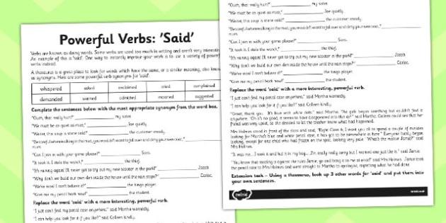 Powerful Verb Worksheet Said - powerful, verb, worksheet, said