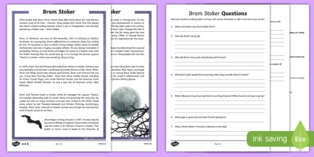 Bram Stoker Differentiated Reading Comprehension Activity Sheet-Irish, worksheet