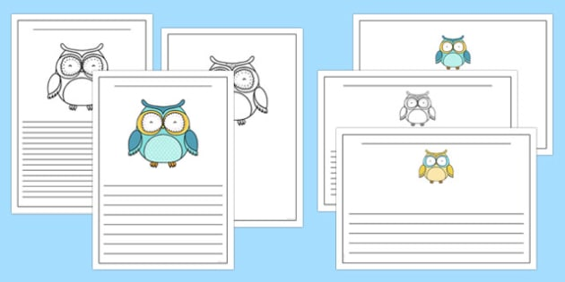 Cute Owl Themed Writing Frames Black and White - cute owl, themed, writing frames