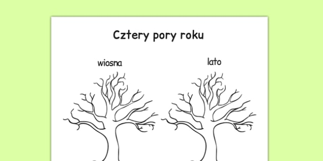 Rysowanka kolorowanka Cztery pory roku po polsku - jesień, zima