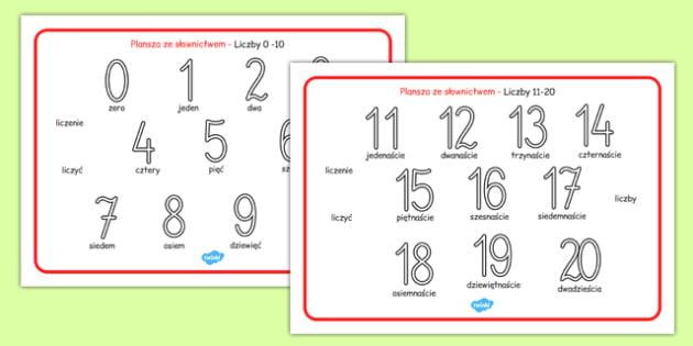 Plansza Liczby z zapisem słownym 0-20 po polsku - początkowe
